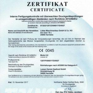 Zeritfikat 02 Über uns Maschinen- und Anlagenbau Lübke Flensburg