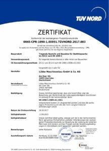 Zertifikat über Werkseigne Kontrolle für Stahltragwerke