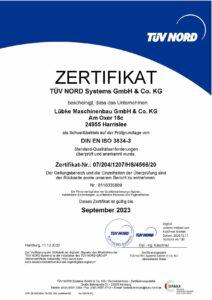 Zertifikat als Schweißbetrieb im Produtbereich von Stahltragwerken
